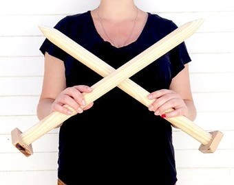 ON SALE Giant Knitting Needles for DIY Chunky Knit Blankets, Extreme Knitting, Super Chunky Knit Blanket, Bulky Throw