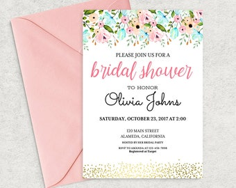 Bridal Shower Invitation Instant Download, Editable Bridal Shower Invitation Template, Printable PDF, DIY Bridal Brunch Invitation, BS-03
