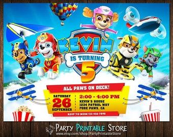Paw Patrol Invitation, Paw Patrol Birthday Invitation, Paw Patrol Birthday Party Invitation, Paw Patrol Bbirthday Invitation Boy
