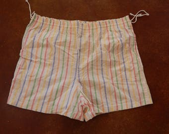 Vintage 80's Light-Weight Drawstring Cotton Rainbow Stripped Shorts