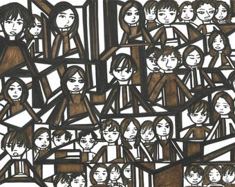 Original Drawing- Brown Triangle People