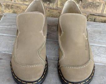 Dr. Martens Mod Deco Slip-On Suede Sage Green Tan Shoe Air-Wair England Size 11 Vintage