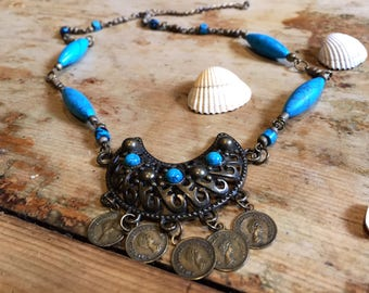 Boho gypsy necklace, blue jewellery, turquoise coin necklace, celestial jewellery, ethnic necklace, tribal necklace, gift for her