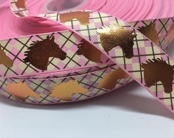 """7/8"""" Foil Horse Equestrian on pink argyle grosgrain sold by the yard"""