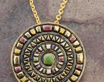 GALILEI - unique handmade chain necklace celtic medieval traditional jewellery Bohemian bijoux glass pendant