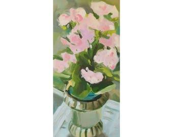 """Flowers in Vase 6""""x12"""" original oil painting"""