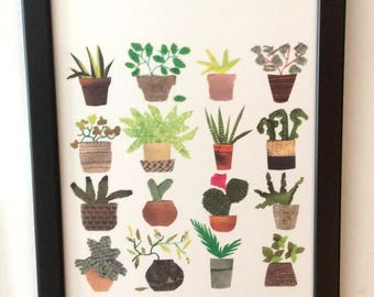 A4  print of POTTY PLANTS, 16 jolly little plants in pots . A bright, fun print made from an original collage artwork