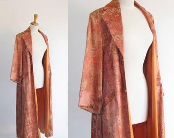 RESERVED vintage 1940s chinoiserie brocade house coat / 40s pink orange satin princess opera coat / damask smoking jacket