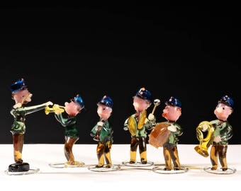 Collection Vintage Czech Art Glass hand lampwork military band figurines Brychta #regal