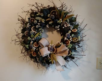 Lemon Leaf Wreath, Dried Oranges, Burlap bow, Rustic Summer Wreath, Dried Flowers, Berries
