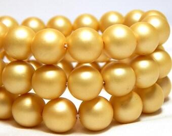 8mm Yellow Shell Pearls, 8mm Yellow Pearls, 8mm Yellow Beads, Matte Yellow Beads, Yellow Beads, Yellow Shell Pearls, Round Pearls, B-58B