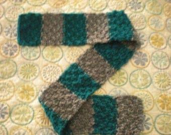 Women's Knit Scarf, Women's Teal Scarf, Handknit Striped Scarf, Girl's Handknit Scarf, Handknit Green Scarf