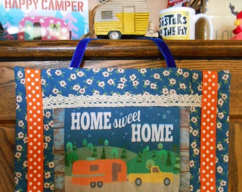 Fabric Wall Hanging with Vintage Trailer/Truck Art Block Print