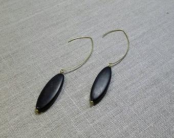 African Horn Oblong Brass Earrings / Dangle Earrings / Tribal Earrings / Boho Chic / Minimalist / Geometric