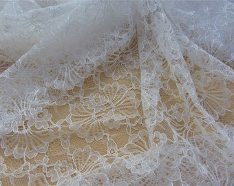 "leaves lace fabric White wedding Lace / ivory white 59"" wide white Wedding Lace Fabric,cotton  lace fabric"