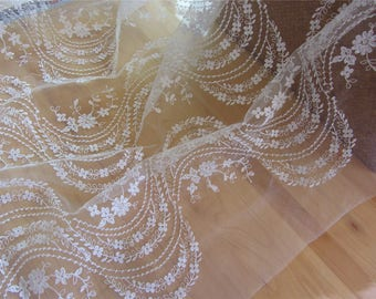 off white white wave  lace fabric ,wedding lace ,grass and leaves embroidery lace
