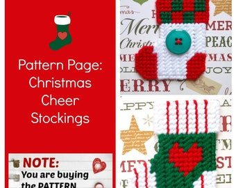 """Plastic Canvas Pattern Page: """"Christmas Cheer"""" Stockings (2 designs -- graphs and photos, no written instructions) ***PATTERN ONLY!***"""