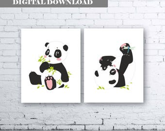 Panda Bear Art. Set of Two (2)-Instant Download. Panda Nursery Art. Pink Panda Printable Art. Pink Panda Nursery Art. Panda Wall Art. Bamboo