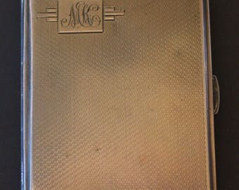 Sterling silver, vintage cigarette case, with engraved initials on the outside