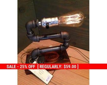 SALE Industrial Lighting - Steampunk Lamp - Table Lamp - Edison Light - Vintage Light - Pipe Lamp - Bedside Lamp - Rustic Lighting - Loft