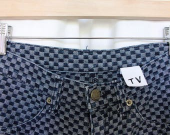 Funky checked high waisted jeans w24