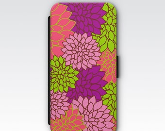 Wallet Case for iPhone 8 Plus, iPhone 8, iPhone 7 Plus, iPhone 7, iPhone 6, iPhone 6s, iPhone 5/5s - Pink & Purple Dahlia Floral Pattern