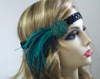Emerald 1920s headpiece, Flapper headband, Flapper headpiece, Great Gatsby,  1920s hair accessory, Roaring 20s, Vintage inspired