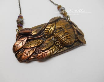 Soft Autumn Breezes copper & gold polymer clay and resin jewelry pendant necklace handmade One of a Kind
