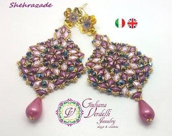 Shehrazade Earrings  TUTORIAL with DiamonDuo, OBeads, Bicone and Seed Beads