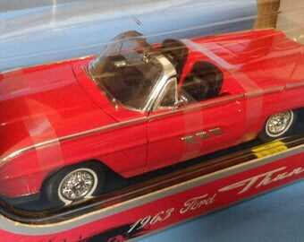 Die cast car 1963 Ford Thunderbird Convertible Collector car Toy car Red convertible