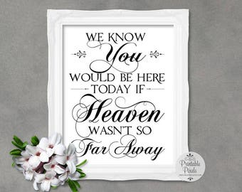 Memory Table Sign, Black Lettering, Printable, Wedding Sign, We Know You Would Be Here Today, Remembrance (#MM14B)