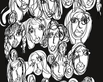 Faces A3 Art Print