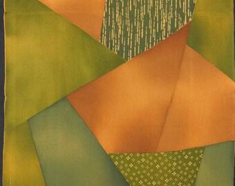 "14.3""w. x 20.7""l. Vintage silk kimono fabric brown and green abstract 2855C"