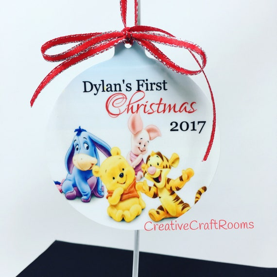 Personalized Ornament, First Christmas Ornaments, Winnie the Pooh Ornament, Baby's 1st Christmas, First Christmas, Pooh and Friends