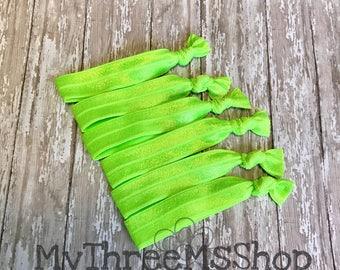 Elastic Hair Ties, Ponytail holder, Foe Elastic Hairties, Lime green Hair bands, creaseless hair ties, Hair tie party favors, pony holder