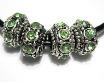 5pcs Antique Silver Large Hole European Rondelle Spacer Beads With Green Rhinestones