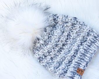 Black and White Knit Hat, Ready-to-Ship, Fur Pom Pom Hat, Chunky Knit Hat