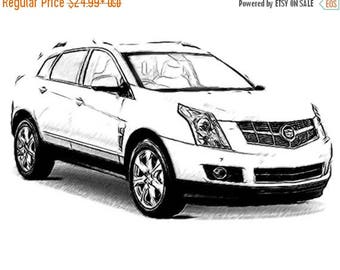 40% OFF Sale Cadillac SRX Drawing T shirt