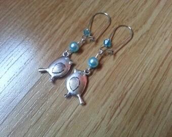 Earring dangle silver turquoise birds