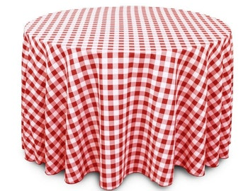 Red And White Checker Wedding Linentablecloth 108 Inch Round Table Cover,  Wrinkle Resistant Quality Cloth