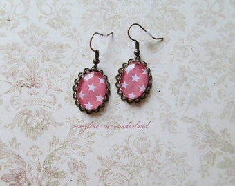 Earrings cabochon coral stars