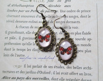 Red Butterfly Cabochon earrings