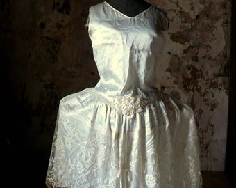 antique silk satin robe de style flapper art deco dress with panniers