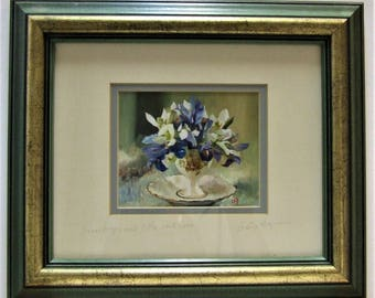 Loes Agoust original small flower painting Snowdrops little rock iris framed posts worldwide