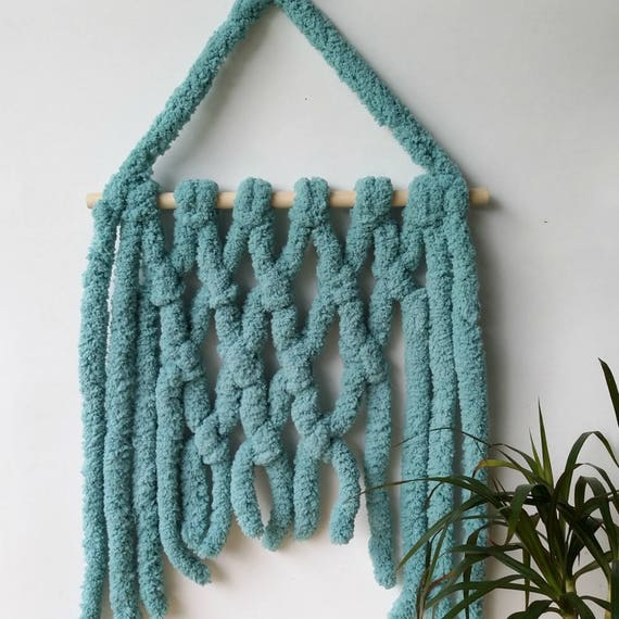 Chunky yarn wall tapestry Modern macrame wall hanger Teal hanging decor Jungalow living room hanger Yarn hanging from wooden stick