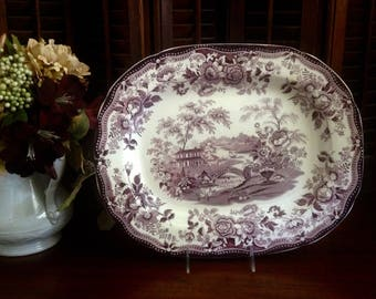 "Plum Purple Tonquin transfer ware  platter by Clarice Cliff for Royal Staffordshire.  13 3/4"" x 11 1/2"" size"