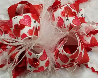 over the top valentine hair bow 5in bow