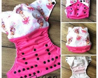 Pink giraffe OS Pocket diaper