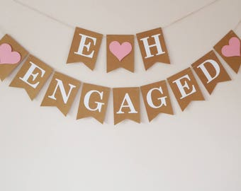 Engaged bunting, Engaged banner, Engagement decorations, Personalised, Initials bunting