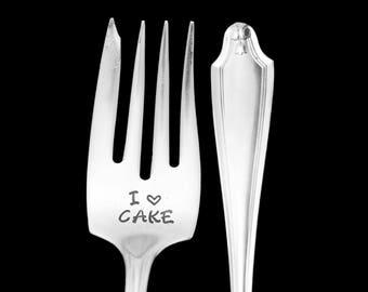 Stamped Fork I Love Cake Vintage Silverware Engraved Dessert Fork, Gift for Cake Lover Hostess Housewarming Gift Gifts Under 15